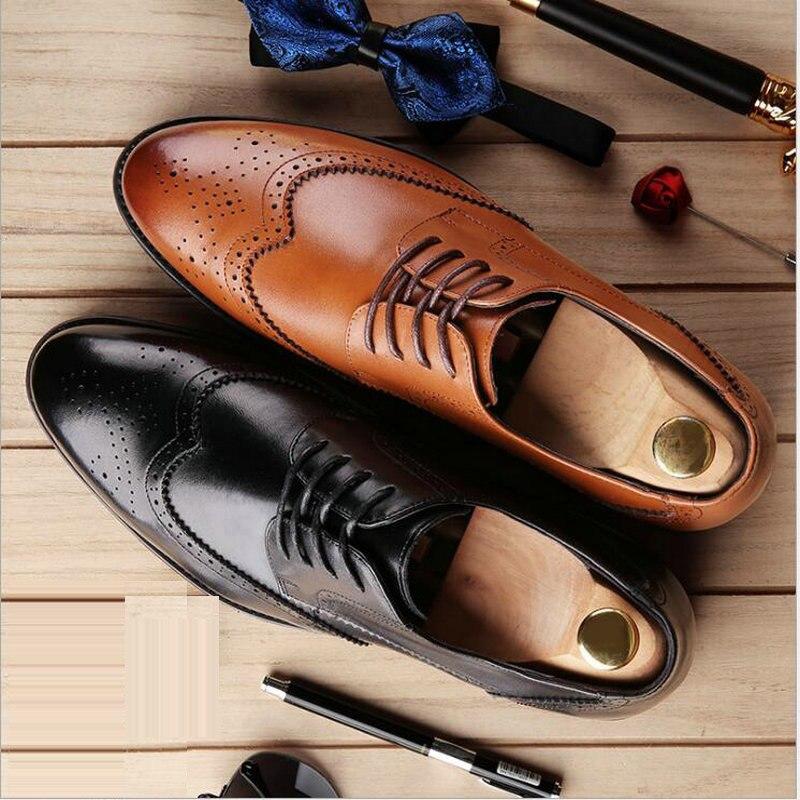 Vintage Retro British Brogue Shoes Mens Casual Shoes Men Genuine Leather Shoes Formal Business Men Oxfords Dress Shoes LE-30 стоимость