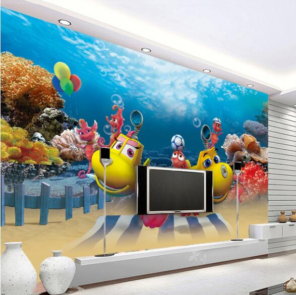 3D Wallpaper Carton Mural Kids Bedroom Sea World papel pared papel de parede listrado 3d wallpaper walls wall papers home