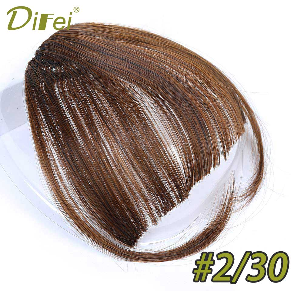 DIFEI Air Bangs Heat Resistant Synthetic Hair pieces Clip In Hair Extensions for Women Black Brown Blonde