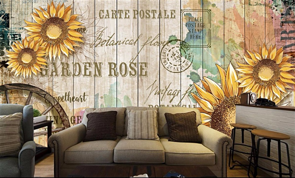 Retro letters Modern Mural Wall paper Hand painted sunflower grain Photo Wallpaper TV Decorative Painting hand painted silk wallpaper painting lotus with birds hand painted wall paper wallcovering many pictures backgrounds optional