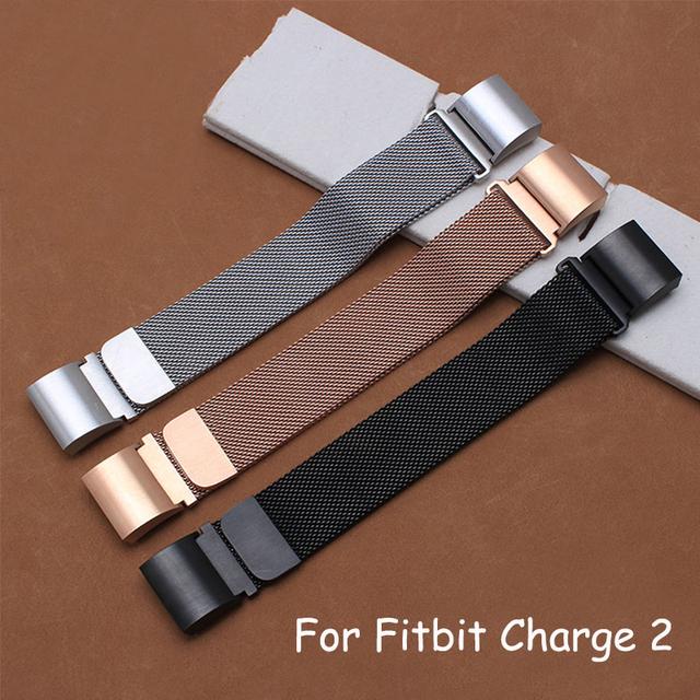 Milanese Malha Cinto de Qualidade Em Aço Inoxidável Pulseira 18mm Para Fitbit Carga 2 Pulseira Inteligente Com Adaptador