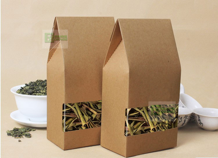 100pcs/lot kraft paper bag with Square bottom For paper