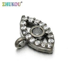 Image 2 - 11*8 мм латунный кубический цирконий сглаза шармы Подвески DIY ювелирные изделия браслет ожерелье, Модель: VD85
