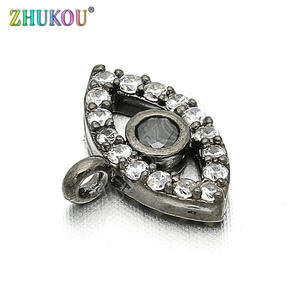 Image 2 - 11*8mm Brass Cubic Zirconia Evil Eyes Charms Pendants DIY Jewelry Bracelet Necklace Making, Model: VD85