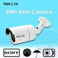 Lin wan 3mp sony imx124 hd cctv bala impermeável ao ar livre Segurança vigilância AHD Câmera com 3 PCS Matriz IR 40 M Noite visão