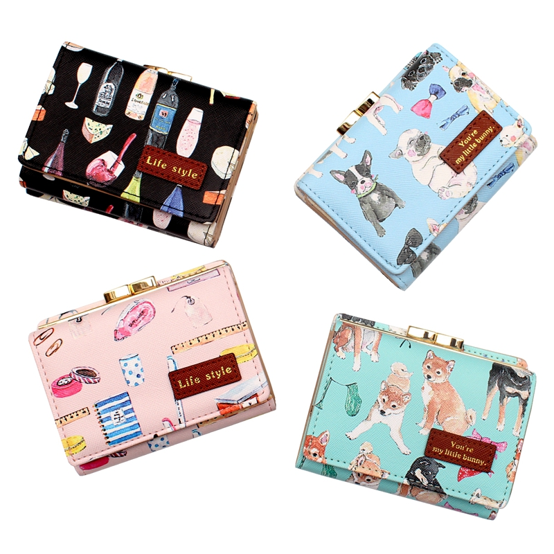 Cute cartoon fashion printing Women Hasp Short Wallet,Lady clutch purse,Female card ID holder,coin purse Girl multi-function bag 2017 new women wallets cute cartoon bear lady purse pu leather clutch wallet card holder fashion handbags drop shipping j442