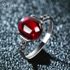 Vintage Thai Silver Garnet Ring Female 925 Silver Blue Corundum Ruby Green Chalcedony Agate Ring Female