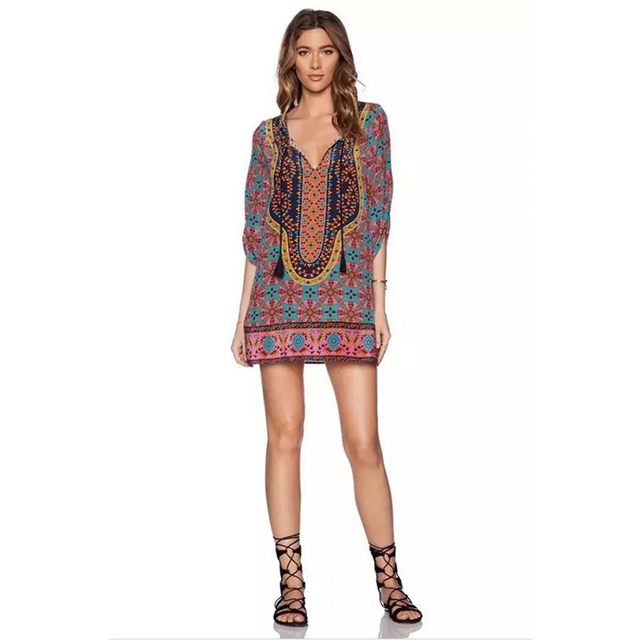 New Bohemian Style 2018 Women Spring Summer Patchwork Dress Plus ...