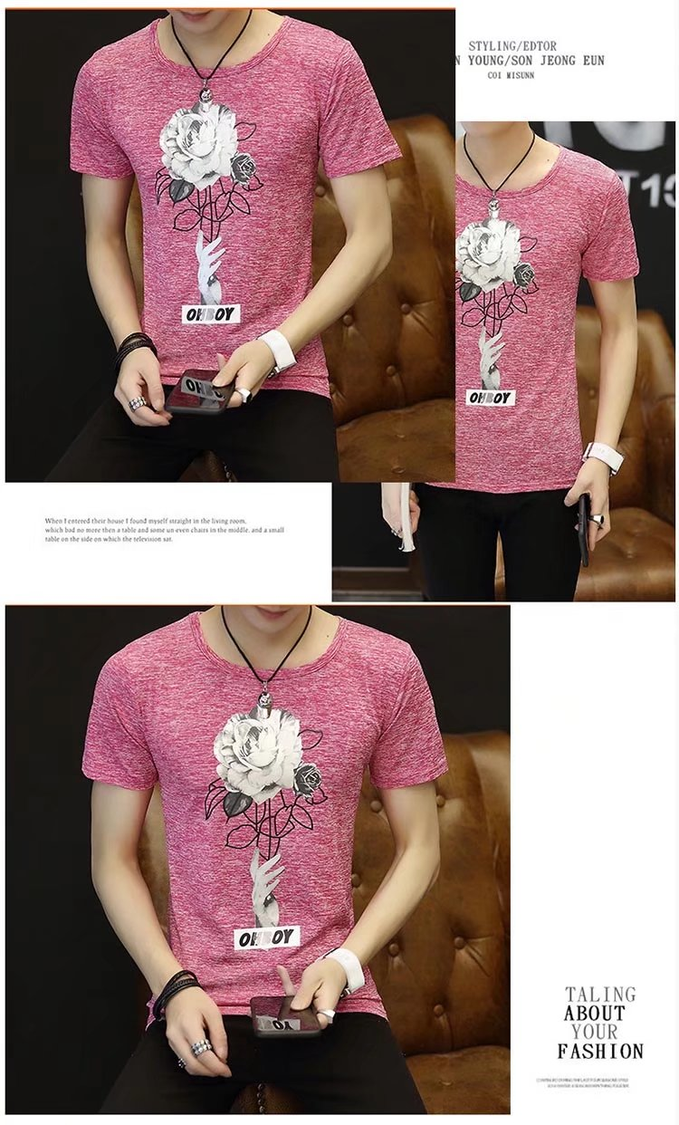 Spring 100% Cotton Casual Short Sleeve Rose Printing Men T Shirt O-neck Knitted Comfortable Fabric Street Style Men T-shirt 46
