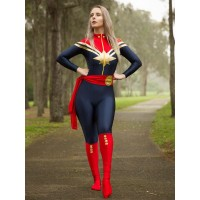Ms. Captain Marvel Carol Danvers super-héros Cosplay Costume Spandex Zentai Costume Halloween costumes pour femme