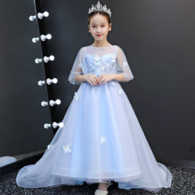 2019Luxury Children Girls Wedding Evening Party Long Tail Dress Model Show Performance Piano Pageant Appliques Flowers Dress