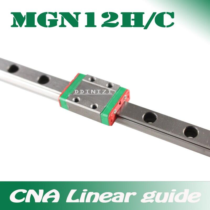 12mm guía lineal MGN12 100, 150, 200, 250, 300, 350, 400, 450, 500, 550, 600, 700mm lineal riel + MGN12H o MGN12C de 3d impresora CNC