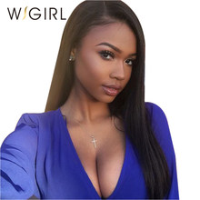 Wigirl Hair Silky Lace Front Human Hair Wigs Brazilian Straight Lace Front Wigs For Women Pre-plucked with Baby Hair(China)