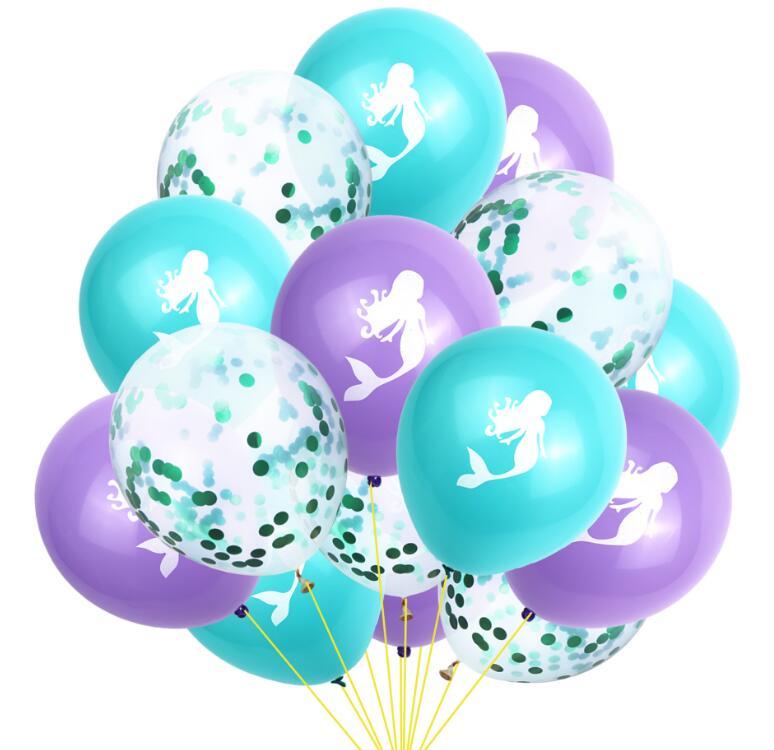SHINY EYES 15pcs  Cartoon Mermaid Party Balloons Latex Confetti Balloon Babyshower Birthday Decoration
