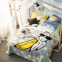 100% Cotton BANANA Bedlinen Luxury bedclothes Queen double size bedcover Doona duvet cover sheet pillowcase 4pc bedding set