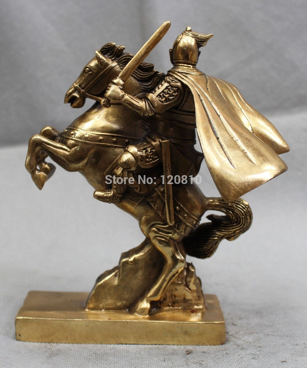 Chinese Brass Three Kingdoms Invincible General Zhao Zilong On Horse Statue