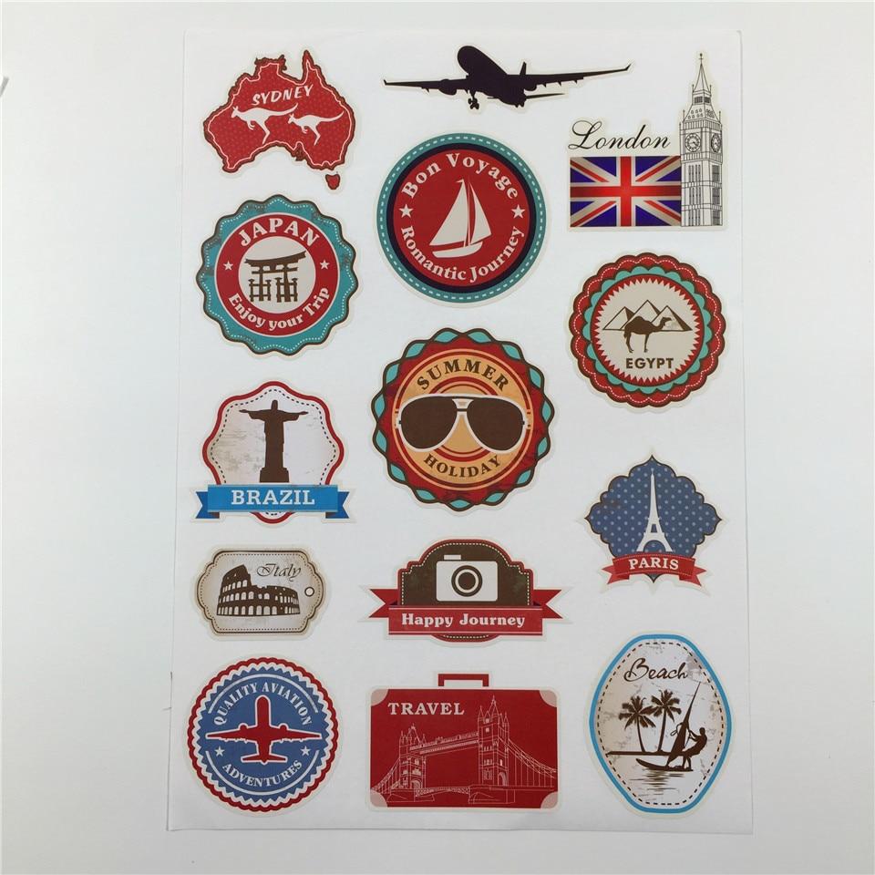 Adesivi da parete rimovibili impermeabili Adesivi da viaggio vintage - Home decor
