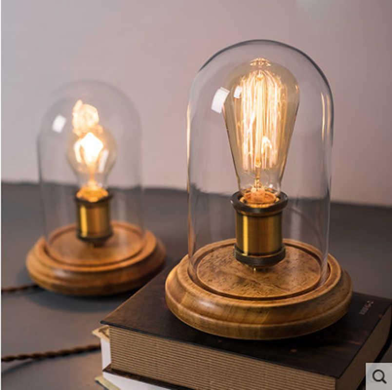 Настольная лампа в стиле ретро из массива дерева простая Лофт Эдисон Ретро спальня кровать бар твердая древесина кафе настольная лампа Светодиодная настольная лампа освещение лампы