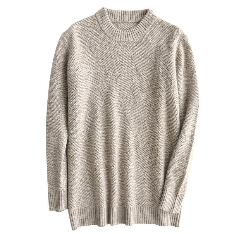 Automne hiver nouveau sauvage O cou pull solide mode cachemire pull chaud doux laine hommes chandail de haute qualité chemise laine