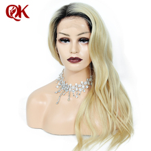 QueenKing hair Lace Front Wig 130 Density Ombre 1B 613 Blonde Silky Straight Preplucked Hairline 100