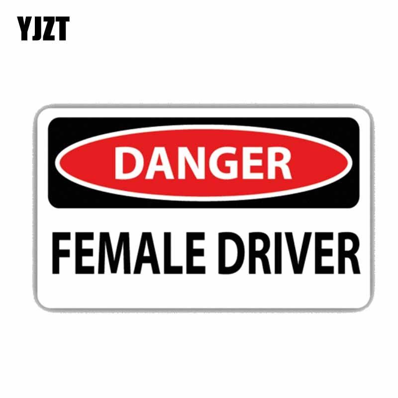 YJZT  15CM*7.5CM Creative Danger Female Driver Funny Car Sticker Decal PVC 12-0308
