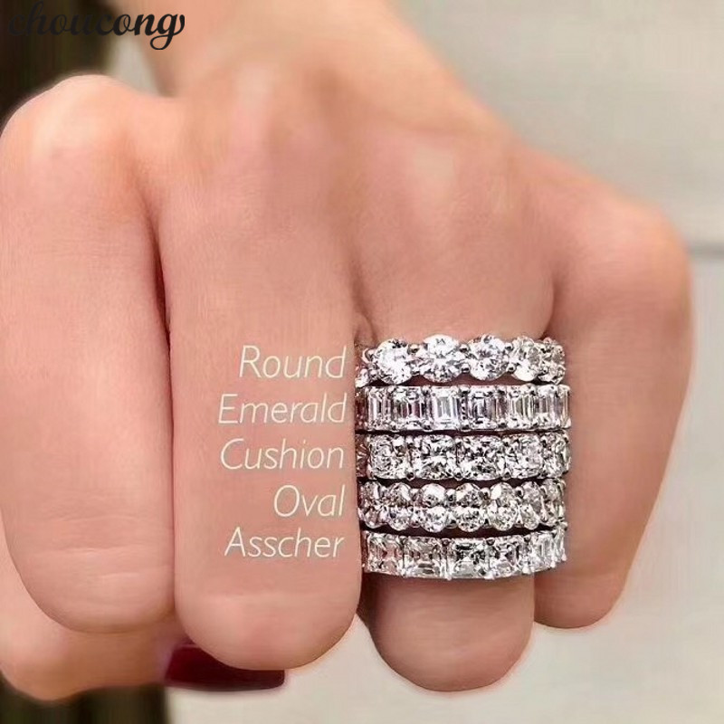 Choucong Fashion 5 Styles Eternity Promise Ring 5A Zircon Cz 925 Sterling Silver Engagement Wedding Band Rings For Women Men