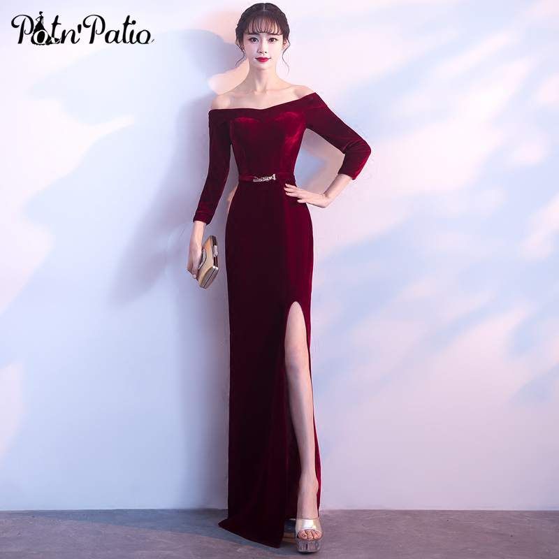 PotN'Patio Long Sleeves Formal   Evening   Gown 2018 Elegant Boat Neck Sexy Slit Straight Velour Wine Red   Evening     Dresses