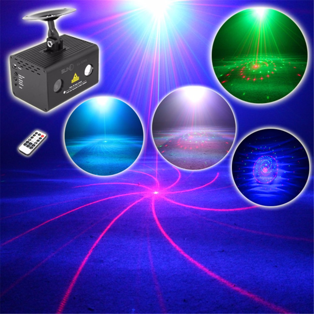 AUCD Mini Remote 12 Pattern Red Green Laser Lighting Water Galaxy RGB LED Projector Mix Aurora Effect Party DJ Home Stage Light transctego laser disco light stage led lumiere 48 in 1 rgb projector dj party sound lights mini laser lamp strobe bar lamps