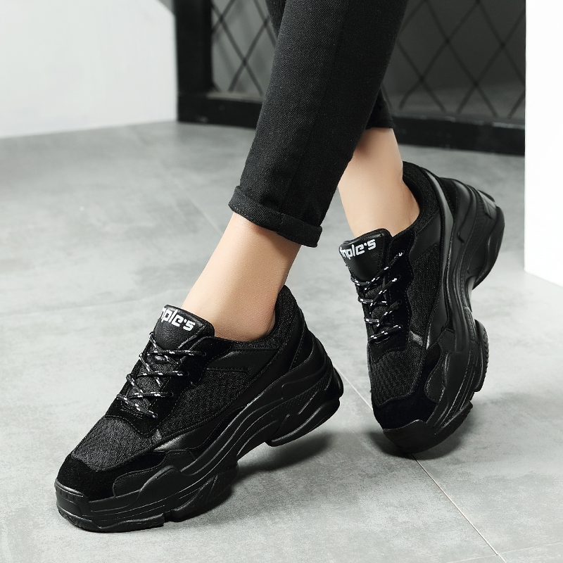 Breathable Platform Women Fashion Chunky Sneakers 2019 Spring Lace Up Patchwork Modis Casual Shoes Low Top Female Shoes XZ139