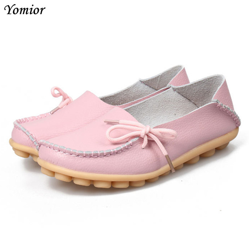 Yomior Women Flats Mother Leather Shoes Casual Moccasins Driving Loafers Women's Shoes Fashion Comfortable Large Size Footwear