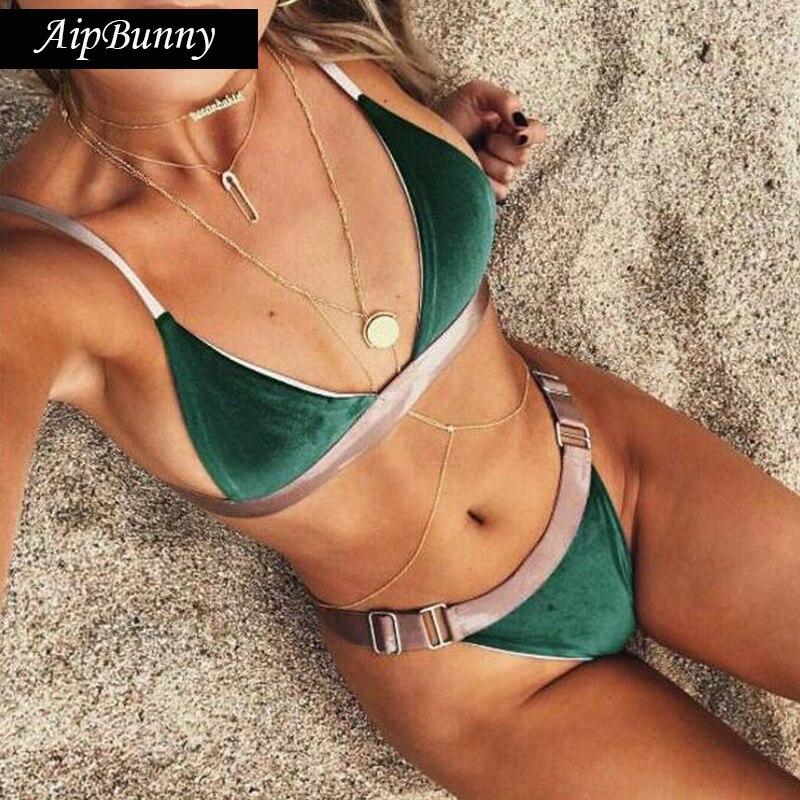 Sexy Green Flannel Brazilian Swimwears Set Swimsuit Women 2018 Swiming Bathing Suit Beach Wear Biquinis Mujer Bikini