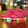 Nueva de la muchacha del muchacho led de carga usb luz niños shoes sneakers shoes shoes luminoso colorido flash de encaje para el cabrito tamaño 25-37