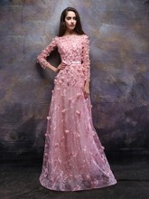 Elegant Pink Bateau Long Sleeves Flowers Lace Evening Gowns 2019 Vestidos de Noiva Custom Made Long Prom Formal Party Drsses red slit design bateau long sleeves top