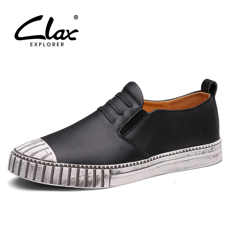 Clax Men's Casual Shoes Slip on 2017 Spring Summer Flats Shoe for Male Fashion Leather Loafers Classic Walking Footwear male casual shoes soft footwear classic men working shoes flats good quality outdoor walking shoes aa20135
