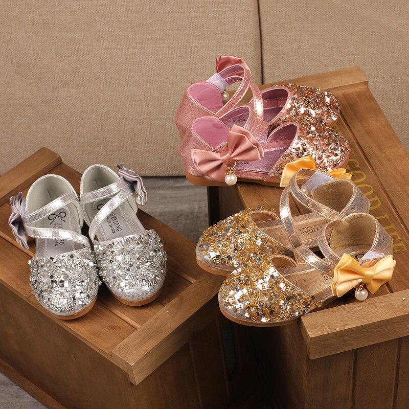 H2231 automne nouveaux enfants en cuir chaussures décontracté filles princesse talon plat chaussures de fête de mode paillettes arc perle enfants chaussures - 2