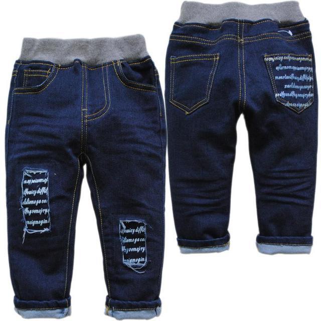 Детские джинсы брюки повседневные джинсы весной и осенью ребенок мальчики девочки прямо сплошной Синий не исчезать ребенка