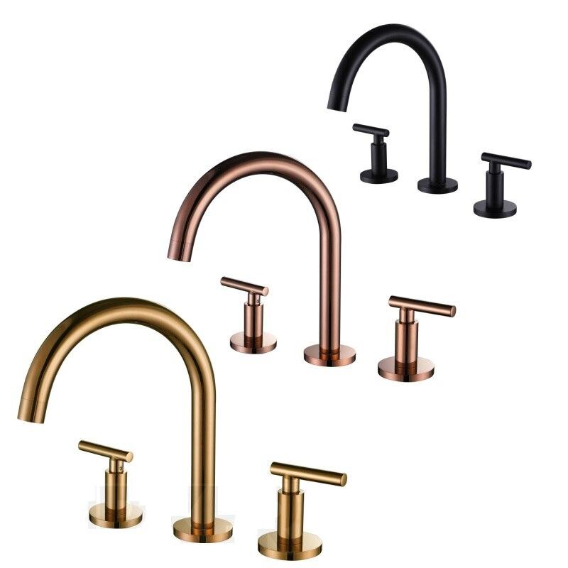 Laiton Rose or bassin Fuacet 3 pièces/ensemble eau chaude et froide mitigeur 3 trou bassin Split robinet mat noir baignoire robinet