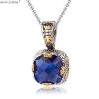 2017 Fashion Jewelry 4 Dragon Claw Blue Quartz Stone 925 Sterling Silver Pendant For Women Evening