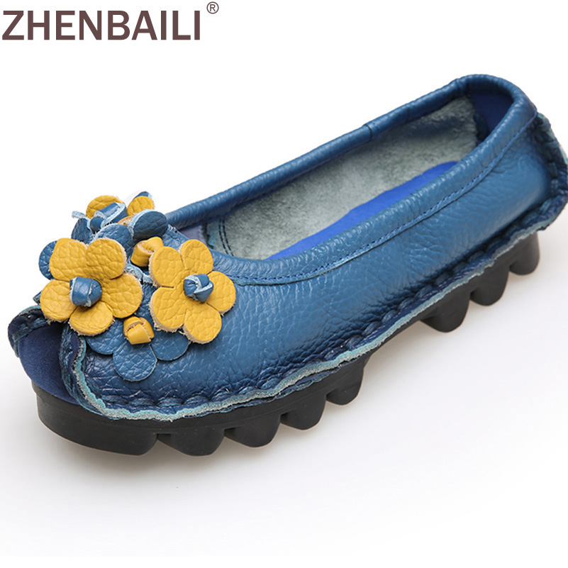 Genuine Leather Women Casual Shoes 2017 Spring Autumn Fashion Sewing Shoes Appliques Decoration Soft Slip-on Ladies Flat Shoes