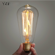 YZF Retro lamp ST64 Vintage Edison bulb E27 Incandescent bulb 110v 220v Holiday lights 40w 60w Filament lamp Lampada for home