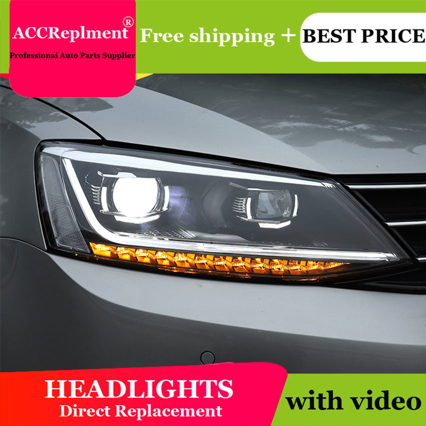 AUTO.PRO headlights for Volkswagen jatta 2011 2018 car styling bi xenon lens LED light guide DRL H7 xenon headlamps for jatta-in Car Light Assembly from Automobiles & Motorcycles    3