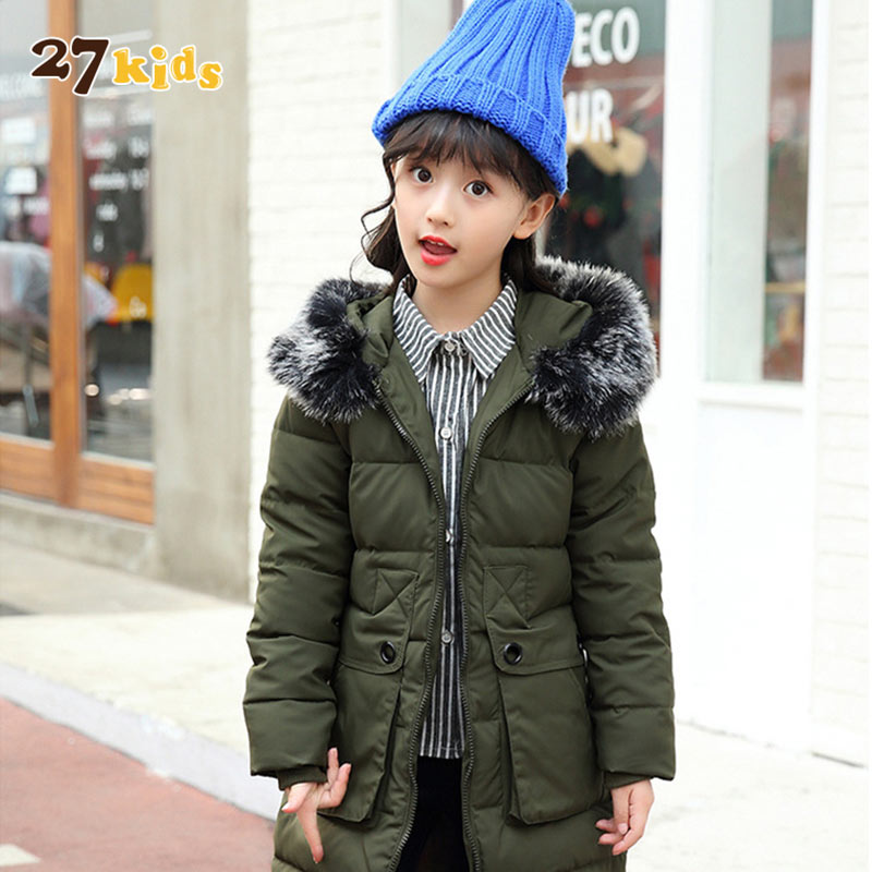 27Kids Children Winter Warm Jacket for Girls Clothes Cotton Padded Hooded Kids Coat Clothing Baby Girl Parkas Jackets & Coats kids clothes children jackets for boys girls winter white duck down jacket coats thick warm clothing kids hooded parkas coat