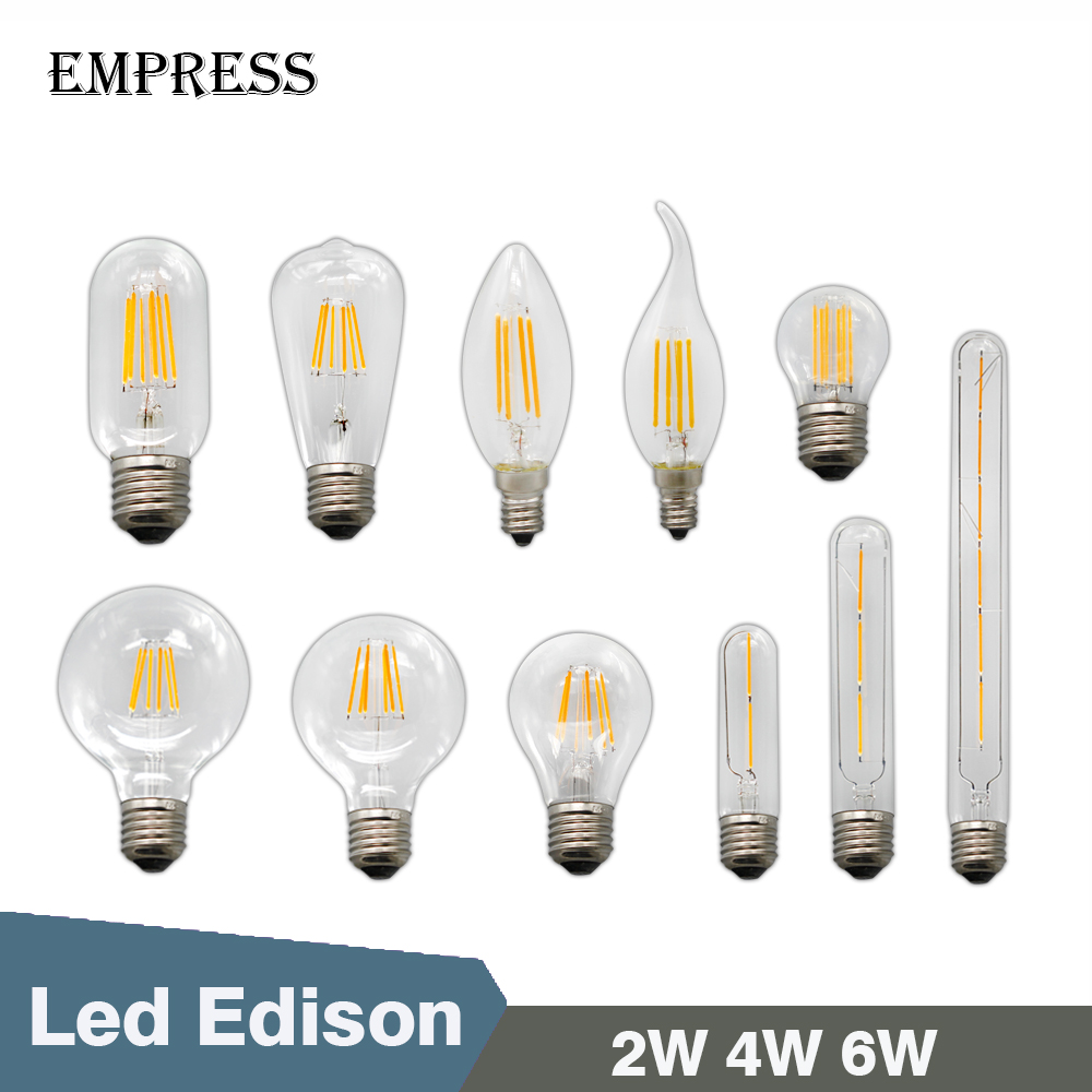 vintage led lamp ampoule e27 e14 220v for decor retro cristal edison led light bulb filament 2w. Black Bedroom Furniture Sets. Home Design Ideas