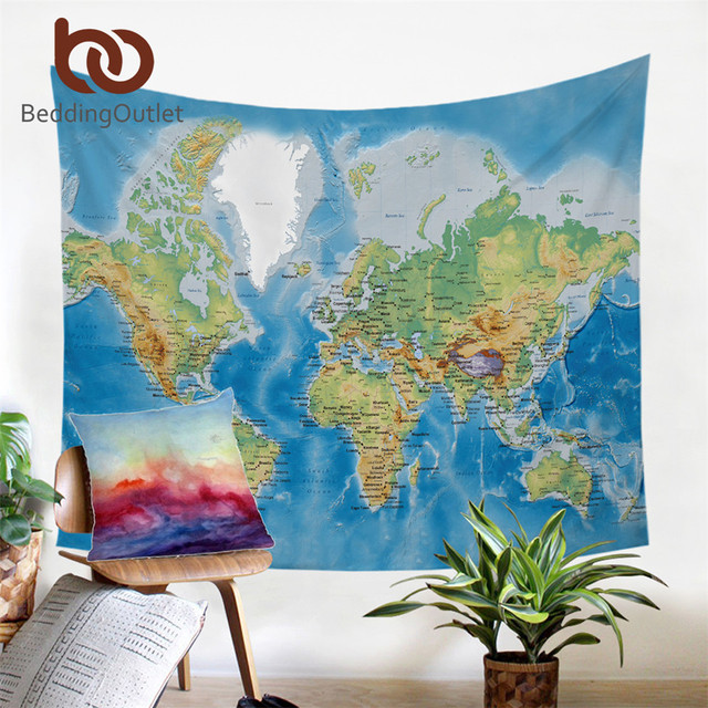 Beddingoutlet world map tapestry blue printed microfiber fabric wall beddingoutlet world map tapestry blue printed microfiber fabric wall hanging home decor bed sheet 130x150 travel gumiabroncs Images