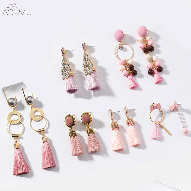 AOMU 2018 New Design Boho Long Tassel Fringed Drop Earrings Bohemian Beach Jewelry Crystal Dangle Earring for Women Gift