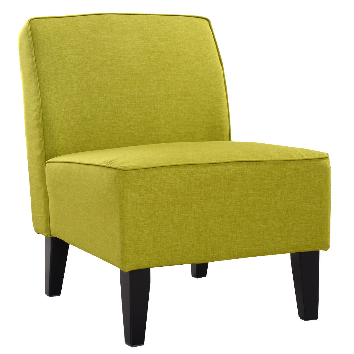Giantex Accent Chair Armless Contemporary Dining Chair Living Room Furniture Green Modern Fabric Leisure Chairs HW52682GN anso contemporary teal color fabric accent chair