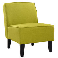 Giantex Accent Chair Armless Contemporary Dining Chair Living Room Furniture Green Modern Fabric Leisure Chairs HW52682GN