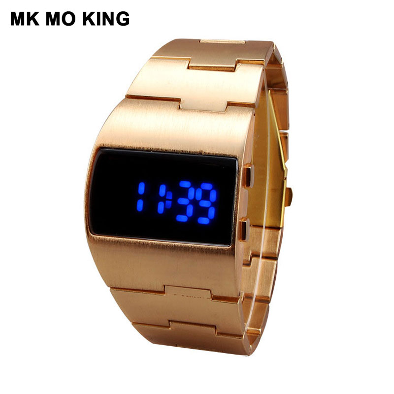 Hot Gold Unique LED Digital Sport Fitness Outdoor Gifts For Couple Men's Women's Ladies Wrist Watch Lovers Clock Dw Mk Bracelet