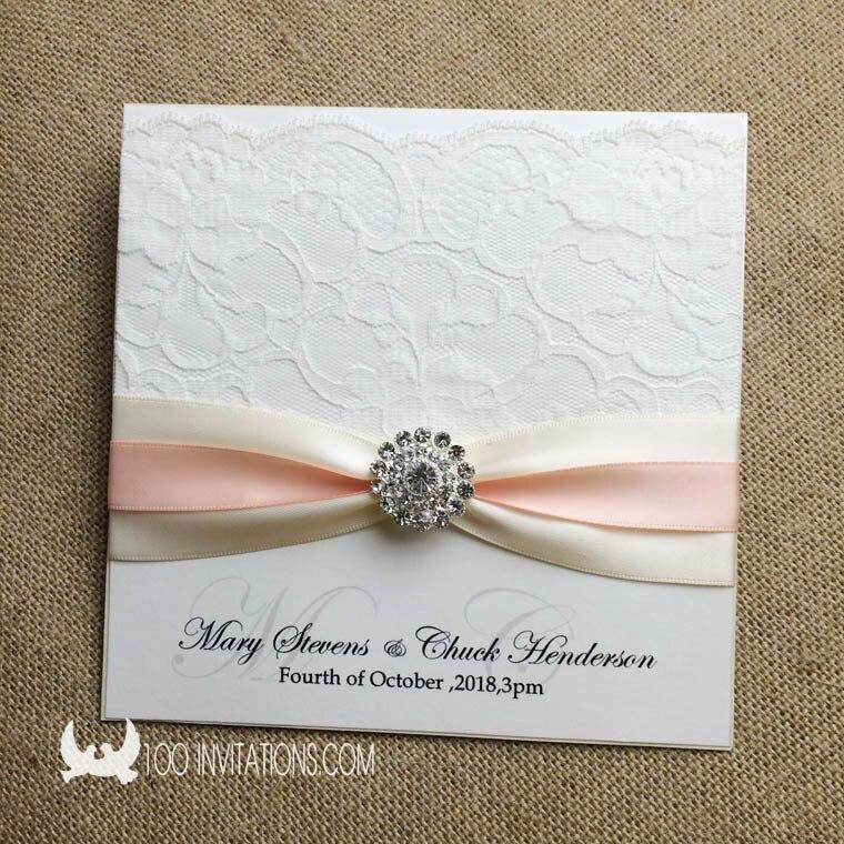 Elegant Handmade Lace Wedding Invitations Decorated with Rhinestone ...
