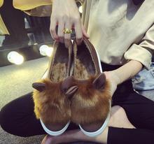2016 spring new women's shoes rabbit ears plush shoes Lok Fu shoes set foot female casual shoes